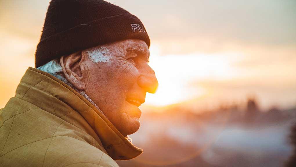 Older man looking away